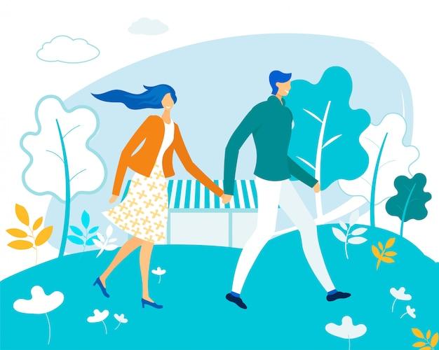 公園を歩いて手を取り合って幸せな愛情のあるカップル Premiumベクター