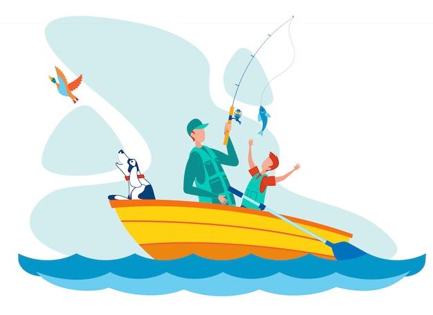 父と息子の釣りフラットベクトルイラスト Premiumベクター