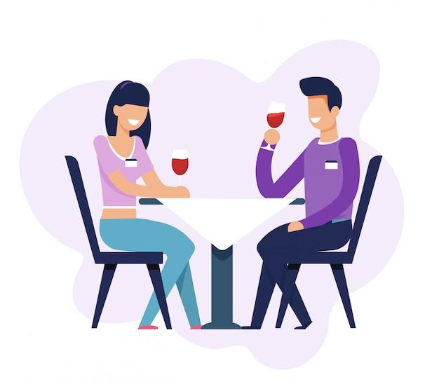 Мужчина и женщина на свиданиях, сидя за столом изолированы Premium векторы