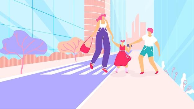 横断歩道で歩く子供を持つ漫画母 Premiumベクター