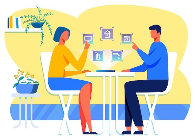 ハウスコントロール対話型インタフェースを使用している家族 Premiumベクター