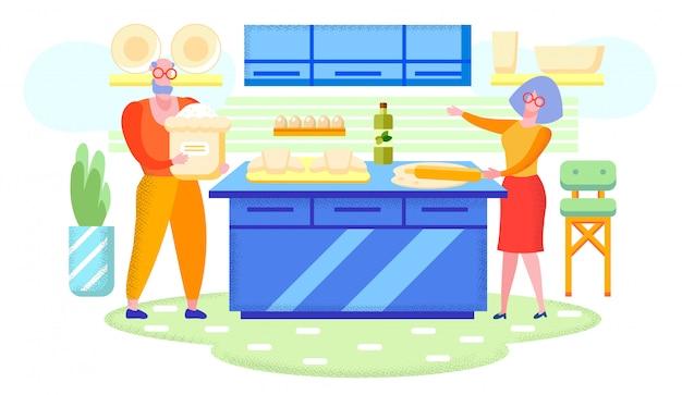 祖父母の家で一緒に料理フラットベクトル Premiumベクター