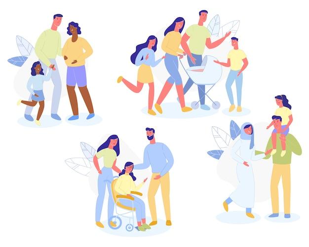 多民族の家族キャラクター両親と子供たちが歩く Premiumベクター