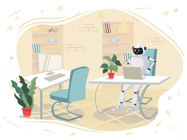 ロボットはオフィスのコンピューターの前のテーブルに座っています。 Premiumベクター
