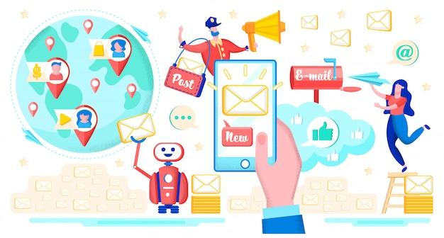 電子メールサービスとのメッセージングフラットベクトルの概念 Premiumベクター