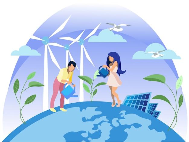 クリーン電気エネルギー Premiumベクター