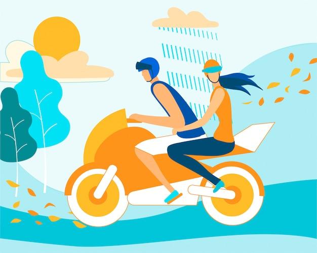 雨の秋の天候でカップル乗馬のバイク Premiumベクター