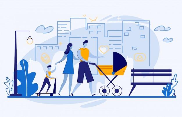 幸せな家族、街で歩く、週末のレジャー Premiumベクター