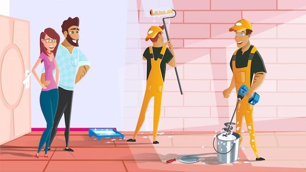 家やアパートの絵画サービス漫画 Premiumベクター