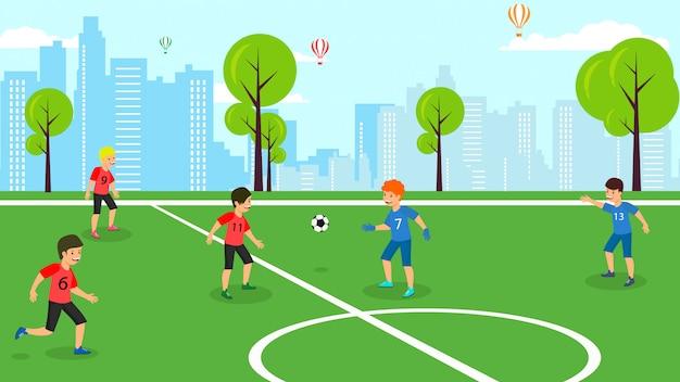 ベクトルフラットフットボール試合学校子供チーム。 Premiumベクター
