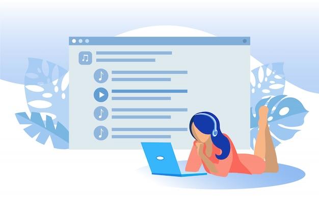 Женщина в наушниках слушает музыку на ноутбуке Premium векторы