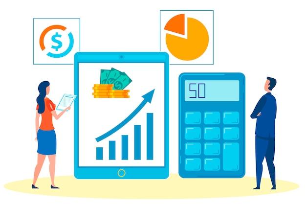 ビジネスマン、ボスおよびアシスタント分析利益 Premiumベクター