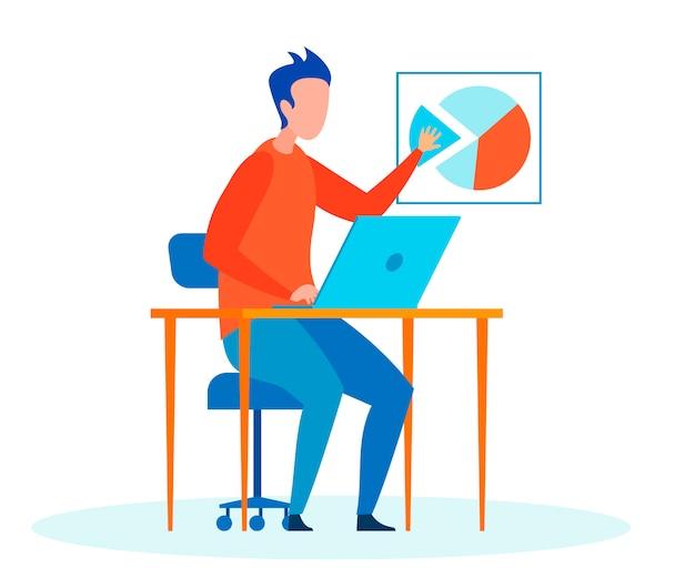 Человек, эксперт, делая доклад с плоским векторная иллюстрация Premium векторы