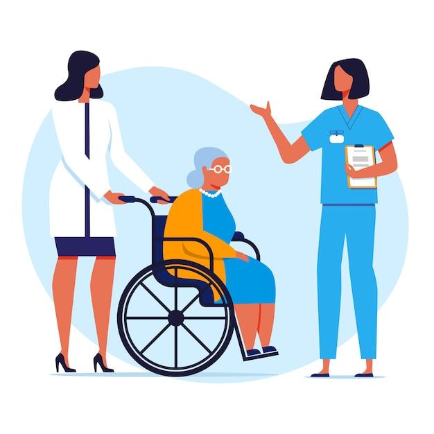 特別養護老人ホーム、病院フラットベクトルイラスト Premiumベクター