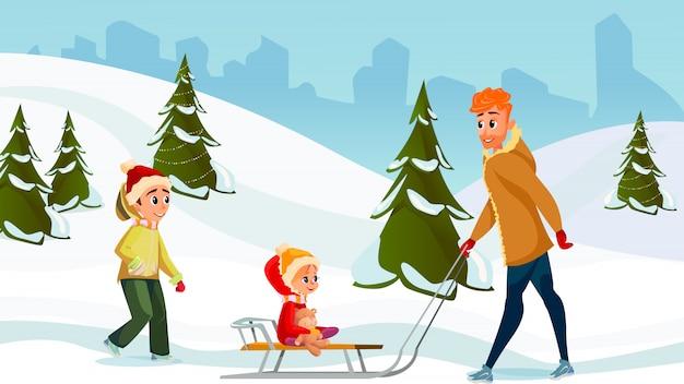 Зимние каникулы мультфильм папа сын дочь вместе Premium векторы