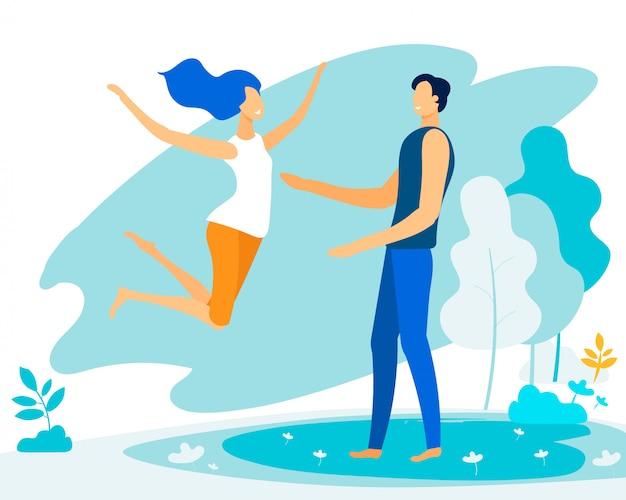 男の腕に飛び込む幸せな若い女、愛 Premiumベクター