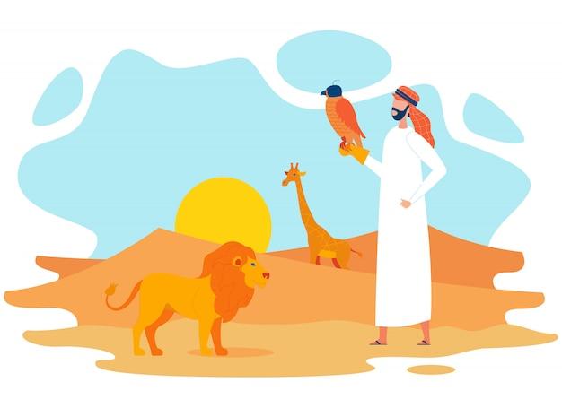 砂漠のフラット文字で鷹とベドウィン Premiumベクター