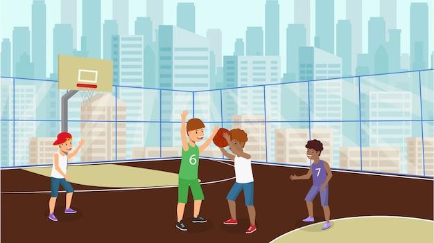 ベクトルフラット多くの子供たちはバスケットボール少年白をプレイします。 Premiumベクター