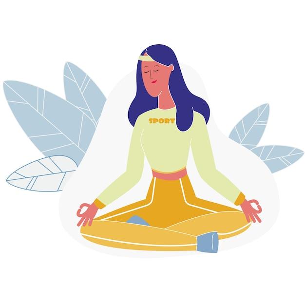 蓮華座、ヨガで瞑想の女性 Premiumベクター