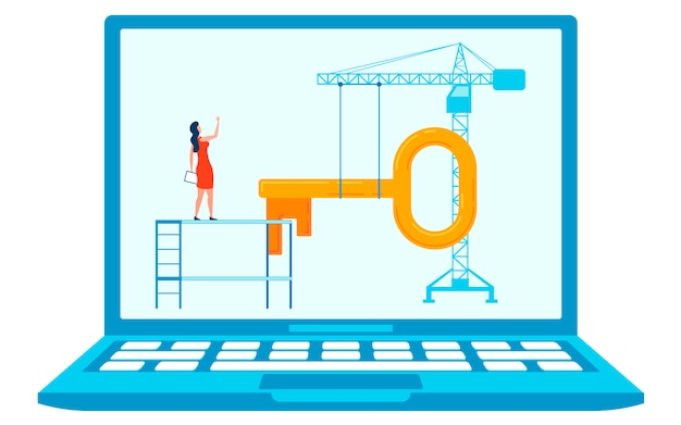 建設コンセプトフラット図の下のサイト Premiumベクター