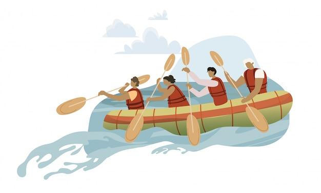 手漕ぎボートの漫画イラストのチーム Premiumベクター