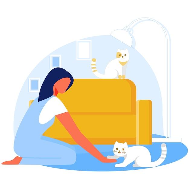 リビングルームで猫と遊ぶ女性、リラックス。 Premiumベクター