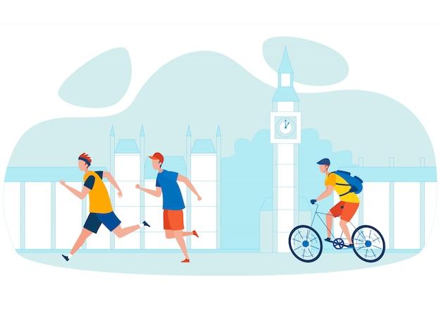 市自転車ツアー漫画イラスト Premiumベクター
