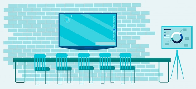 家具と技術を備えたデジタルオフィス Premiumベクター