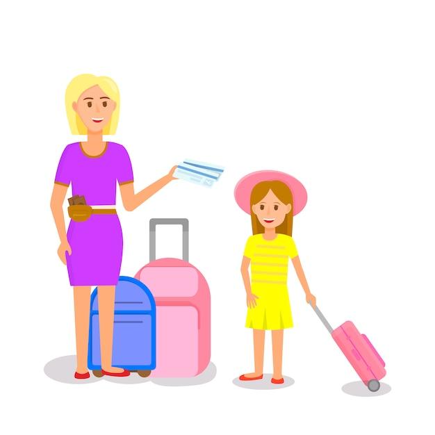 Женщина в розовом платье с девушкой стоит возле багажа Premium векторы