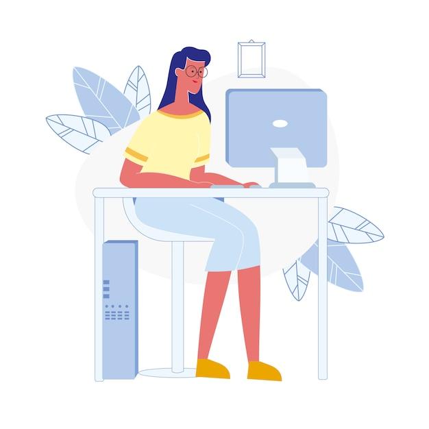 若い女性がコンピューターフラットベクトル図を使用します。 Premiumベクター