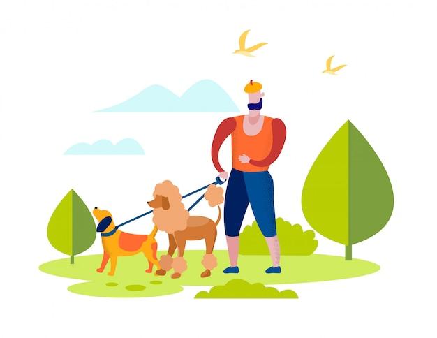 男キャラクターが公園で犬チームと一緒に歩きます。 Premiumベクター