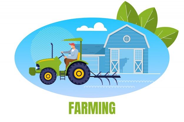 Фермер рабочий аграрный персонаж трактор Premium векторы