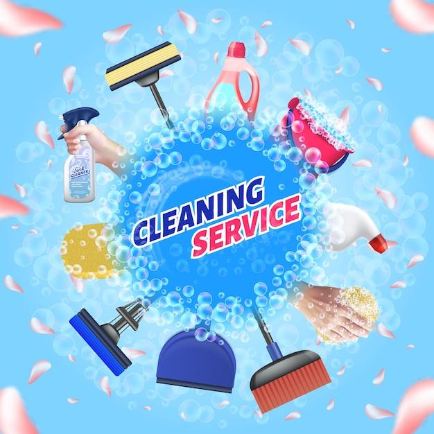 清掃用具をセットします。ロゴクリーニングサービスベクター。 Premiumベクター