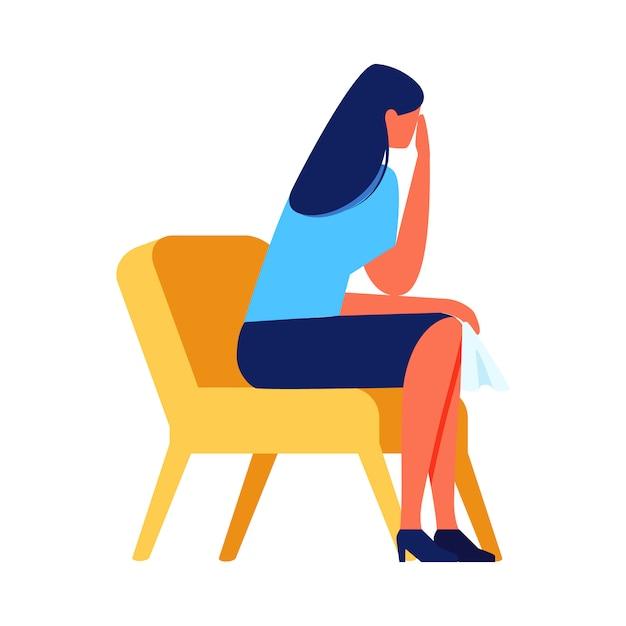 Плачущая женщина, сидя на стуле на белом фоне. Premium векторы