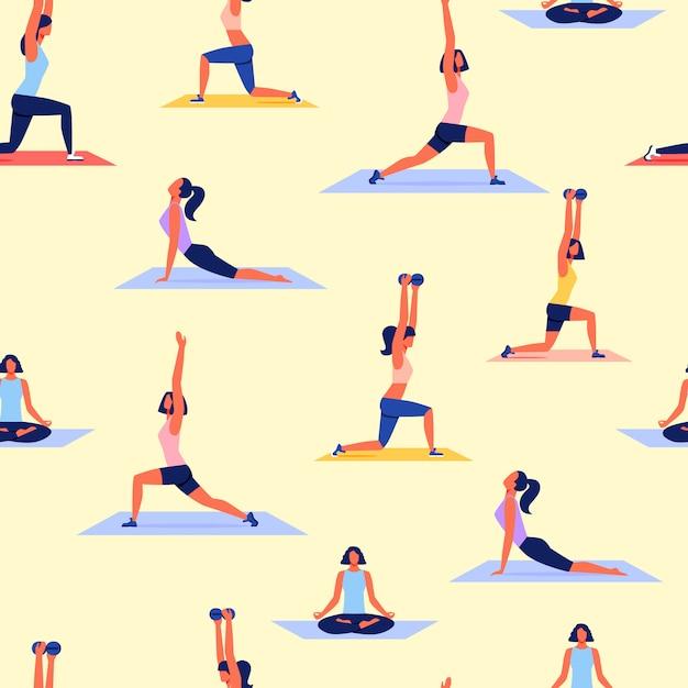Различные позы женщин практикующих йогу. спорт вектор. Premium векторы