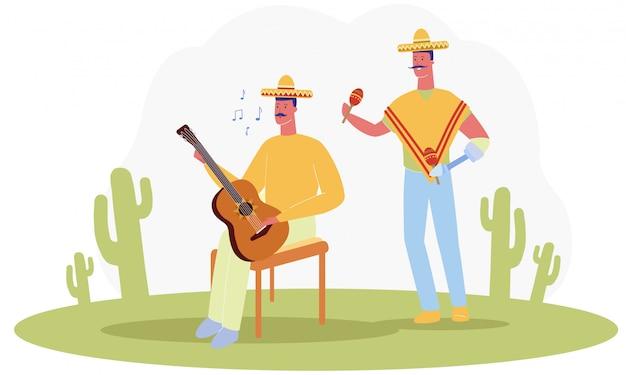 漫画の男性の伝統的なメキシコのコスチュームプレイミュージック Premiumベクター