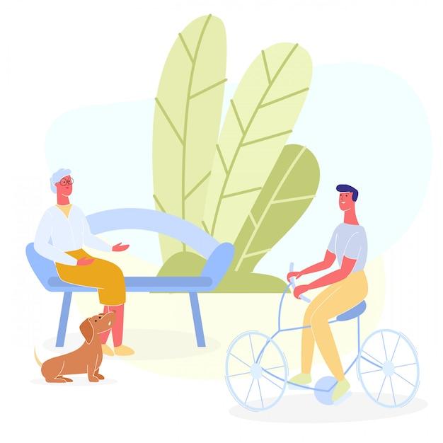 自転車挨拶の老婦人がベンチで休んで Premiumベクター