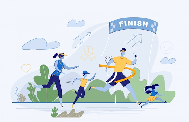 Счастливая семья принимает участие в соревнованиях по бегу Premium векторы