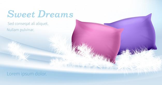 ピンクと紫の枕は白い羽の上に立つ Premiumベクター