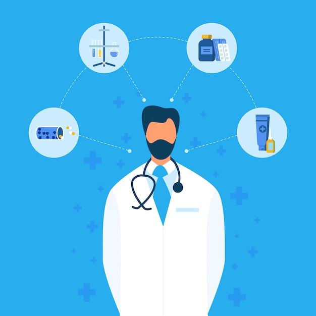 医師と新薬作成フラットフローチャート Premiumベクター