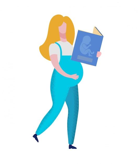 妊娠中の女性が赤ちゃんの胚と本を保持 Premiumベクター