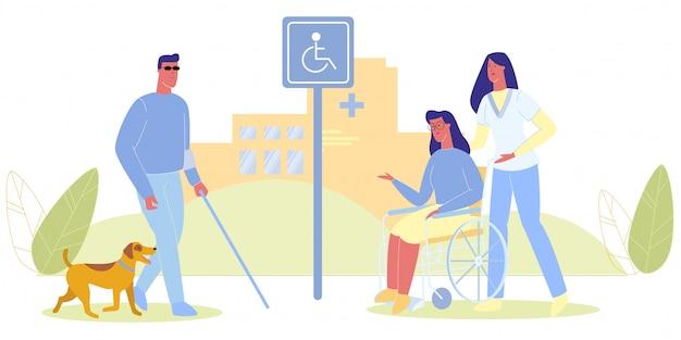 Слепой с собакой медсестра с женщиной в инвалидной коляске Premium векторы