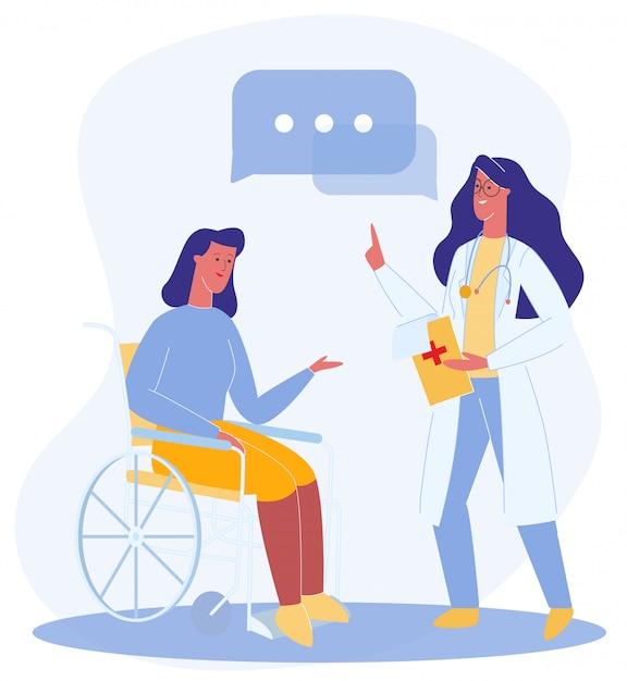 医者は車椅子の推薦女性を与える Premiumベクター