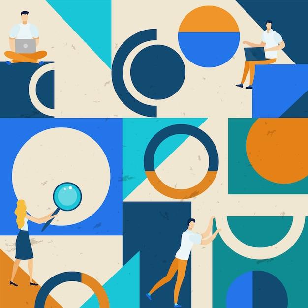 アイデアのパターンのための明るいポスター検索 Premiumベクター