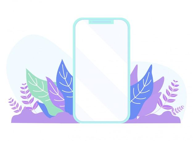 植物の葉の漫画に空のフラットモバイルスクリーン Premiumベクター