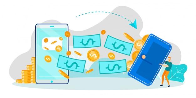 電話での金融取引とモバイルバンキング Premiumベクター