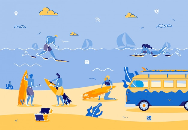 暑い夏を楽しむ人々とのビーチパーティー Premiumベクター