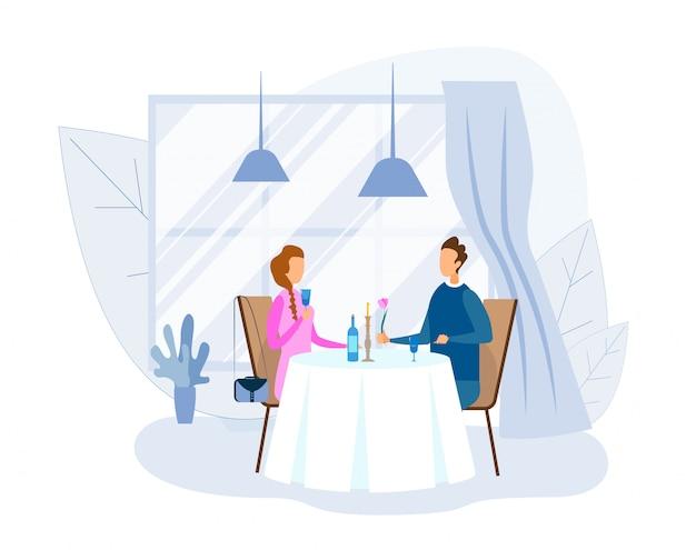 男と女のレストランでロマンチックなディナー Premiumベクター