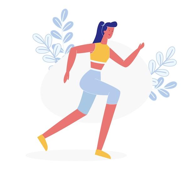 若い女性アスリートジョギングフラットベクトル文字 Premiumベクター