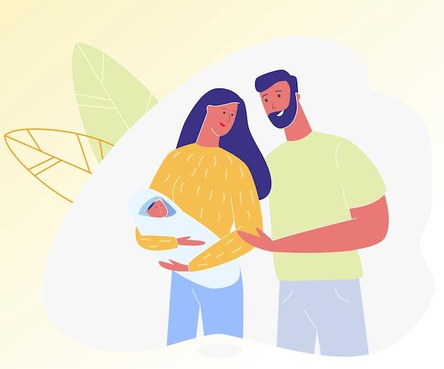 生まれたばかりの赤ちゃんを保持している若い親のカップル。 Premiumベクター